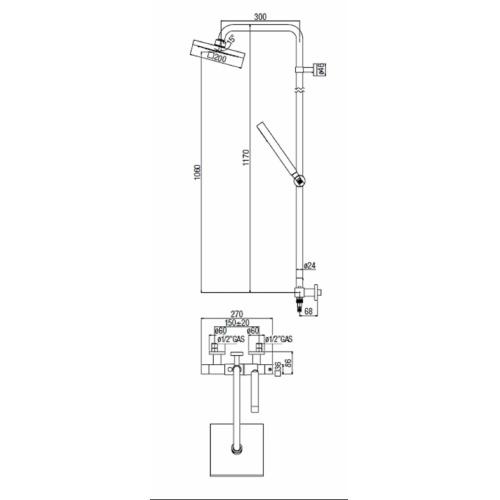 Colonne de douche thermo chromé TOWER TW00030-30 COTE