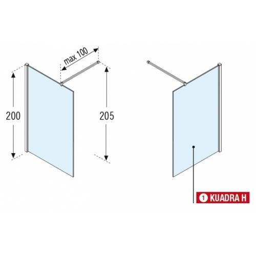 Paroi de douche Fixe KUADRA H Transparent 30cm - Profilé Chromé Kuadra h schema