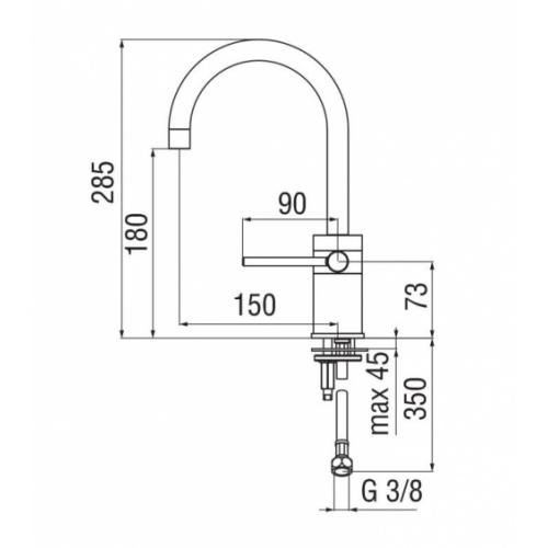 Mitigeur lavabo chromé PLUS PLUS Pl00138 2 cote