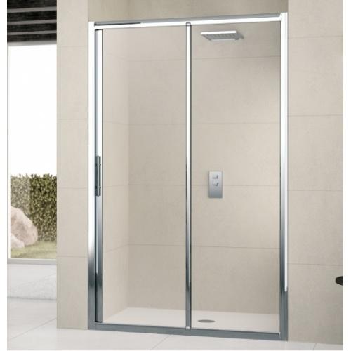 Porte de douche à 2 panneaux Lunes 2P 130cm Transparent Silver