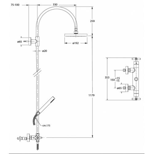Colonne de douche thermostatique EXECUTIVE EV45751 Ev45751 cote