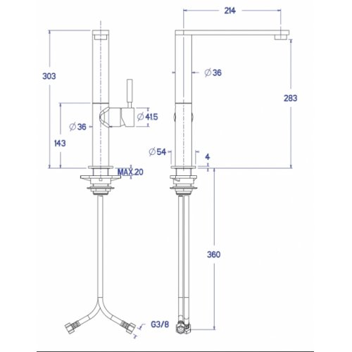 Mitigeur évier CUCINA bec haut - CX55051 Cx55051 cote