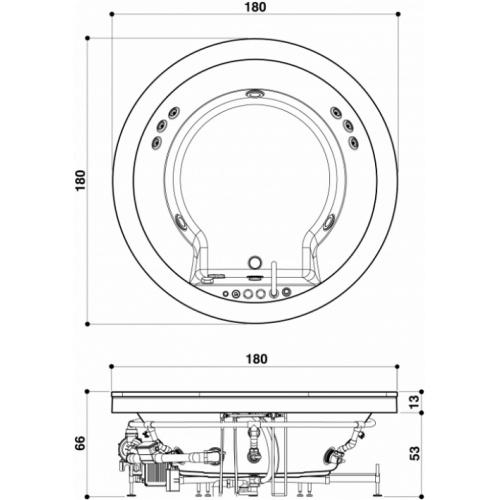 Baignoire AURA RONDE 180 cm à encastrer sans Aquasystem JACUZZI Auraronde 2