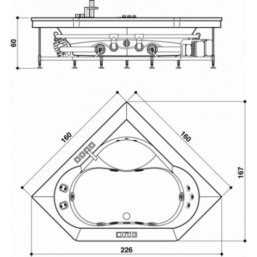 Baignoire d'angle AURA PLUS CORNER 160x160 tablier bois JACUZZI Aurapluscorner schema