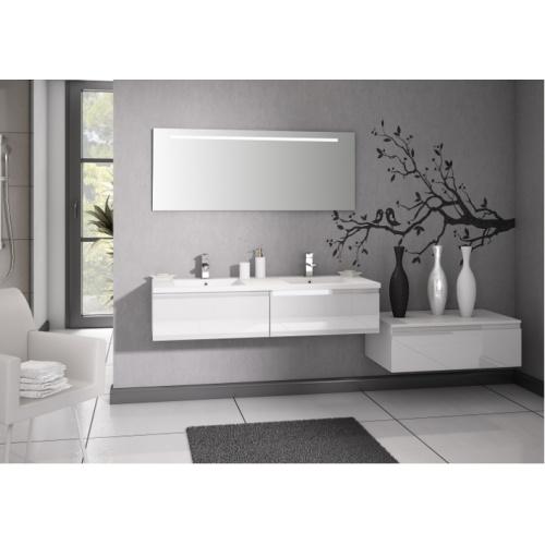 Meuble double vasque VOGUE/LOFT 140 Boréale Blanc Vogue prise de main laque blanc brillant