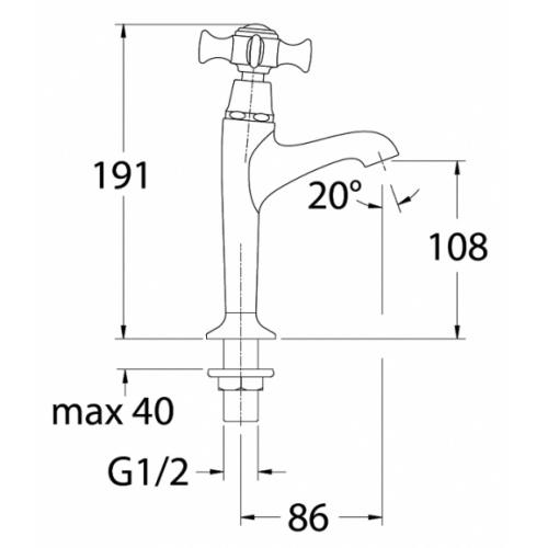 Robinet lave-mains CHAMBORD rétro chromé - Eau froide - CH14051 Ch14051 schéma