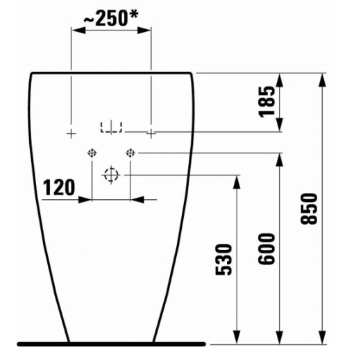 Lavabo avec colonne Alessi Laufen Tdf1 811971 v global tf techdrawing