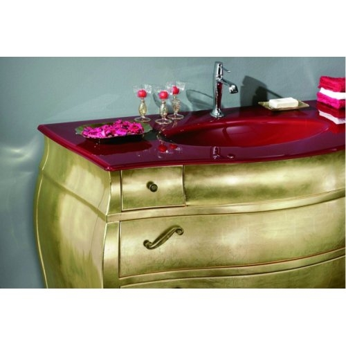 Meuble de salle de bain New Baroque composition 3 - Feuille Or Pre oro+rosso