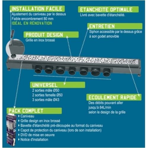 Caniveau de sol à carreler Venisio pour douche à l'italienne 700 mm - 30720839* Descriptif