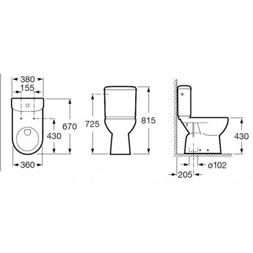 Pack WC confort Access Sortie verticale Roca Access cote sv