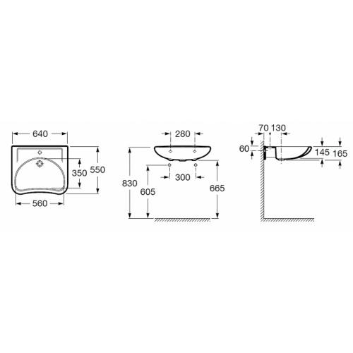 Lavabo ergonomique Access Roca Access cote 3