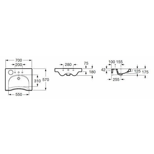 Lavabo ergonomique Meridian-N Roca Meridian cote2