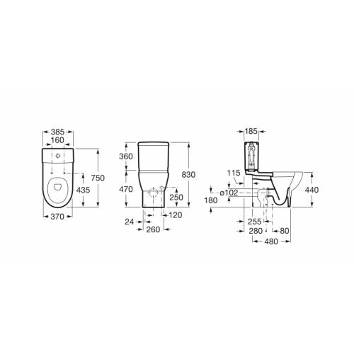 Pack WC Confort Méridian-N Sortie duale Roca Meridian cote