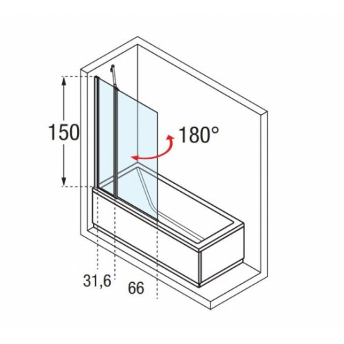 Pare-baignoire 1 porte pivotante + 1 fixe AURORA 3 Transparent Aurora3 Schéma