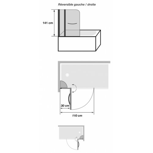 Pare-baignoire pivotant 110x140cm Caiman XXL Caimanxxl cote