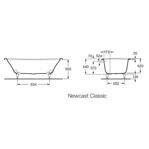 Baignoire rétro en fonte Newcast Classic Cuve Grise Newcast classic cote