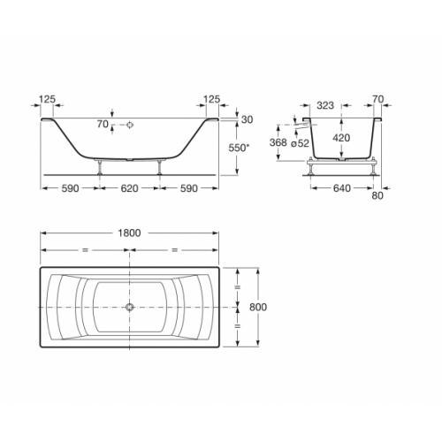 Baignoire nue rectangulaire HALL Biplace 180x80cm Hall biplace cotes