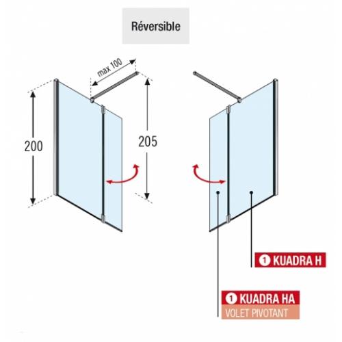 Paroi de douche Fixe + Volet pivotant KUADRA H2 70+37 Transparent Kuadra h2 (2)