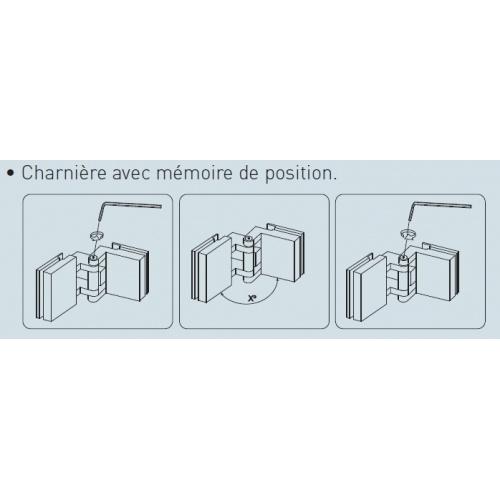 Paroi fixe + volet pivotant verre fumé 60+35cm Droite Charnière