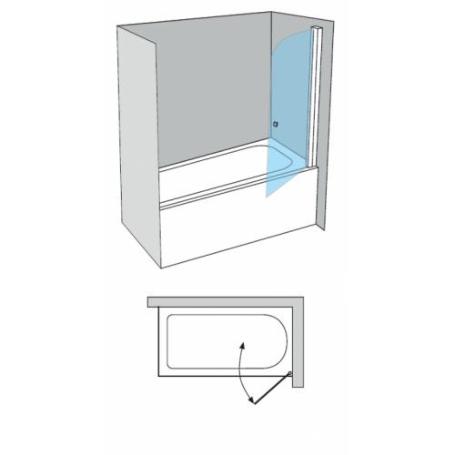 Pare-Bain Arcoiris pivotant verre fumé sablé Aqua 80x150 Droit Arcoiris ac 110 schéma droite