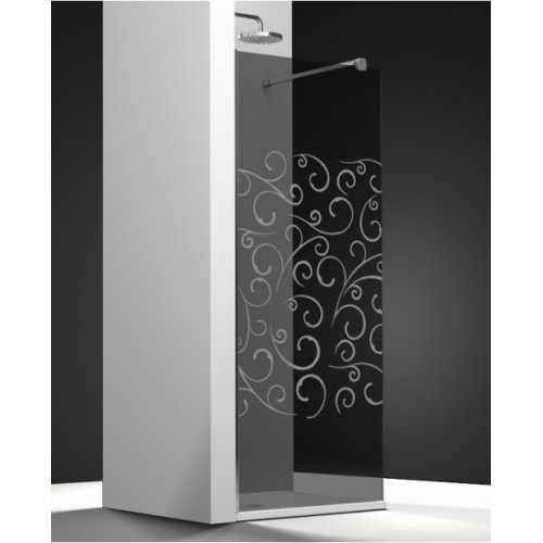 Paroi de douche fixe ONE verre fumé sablé Volutas 120cm gauche