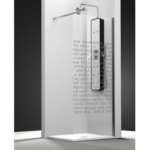 Paroi de douche fixe ONE verre transparent sablé Aqua 30cm droite