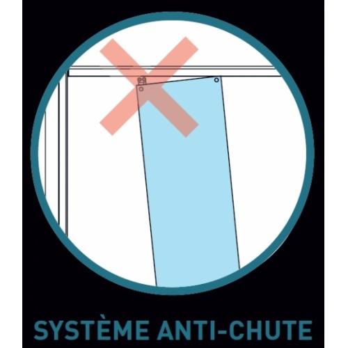Paroi de baignoire Verre transparent bande sablé 1 panneau coulissant 150cm version droite Système anti chute
