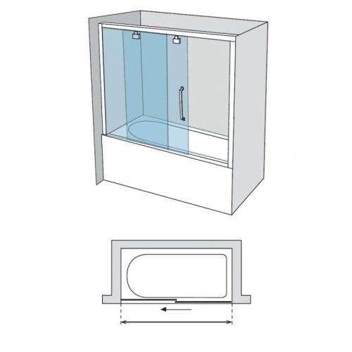 Paroi de baignoire Verre transparent bande sablé 1 panneau coulissant 150cm version droite Vt 110 cote droite