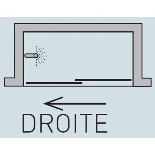 Paroi de baignoire Verre transparent bande sablé 1 panneau coulissant 150cm version droite Vt 110 schéma droite