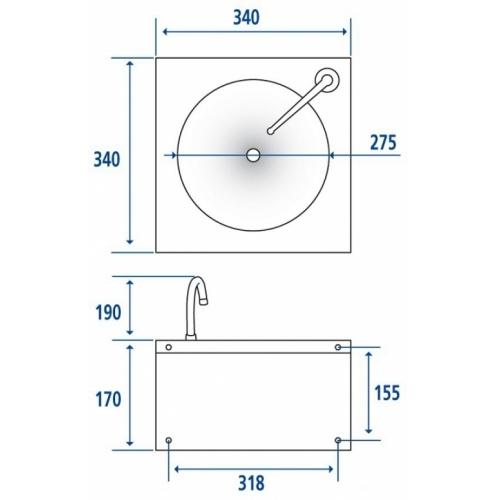 Lave-mains cuve ronde Inox Cote 063500 (2)