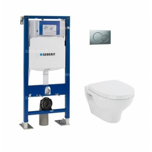Pack WC Geberit UP320 + cuvette POP2+ plaque Sigma Chromé Brillante