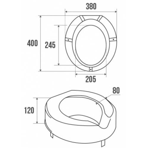 Rehausse pour cuvette WC standard, Ht. 12 cm Schéma 047570