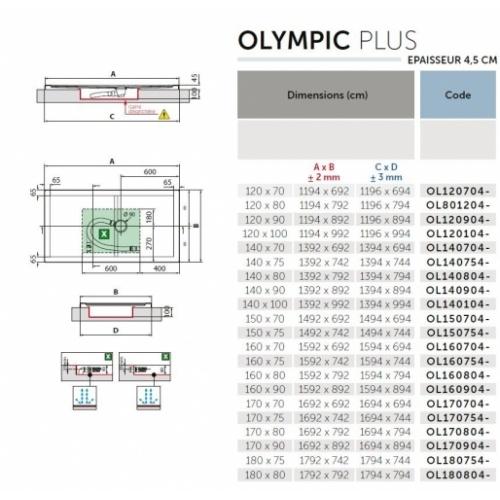 Receveur Olympic Plus Gris - Hauteur 4.5 cm - 120x70cm Schéma OLYMPIC Plus 4.5 cm