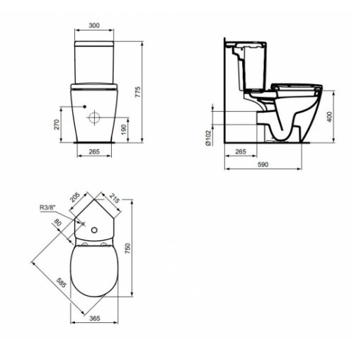 Pack WC d'angle Connect Space sortie horizontale E129901 E129901 cote