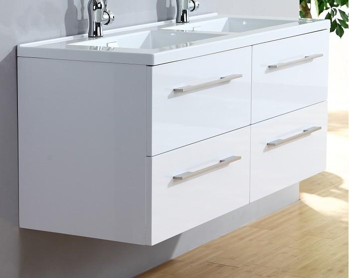 Meuble Double Vasque 120cm Saturn 20 Blanc Brillant Sans Miroir Ebay