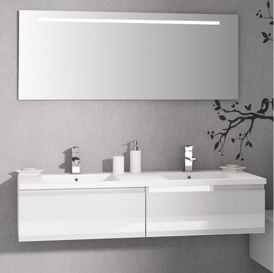 Meuble double vasque vogue 140 bor ale blanc for Double vasque salle de bain en verre