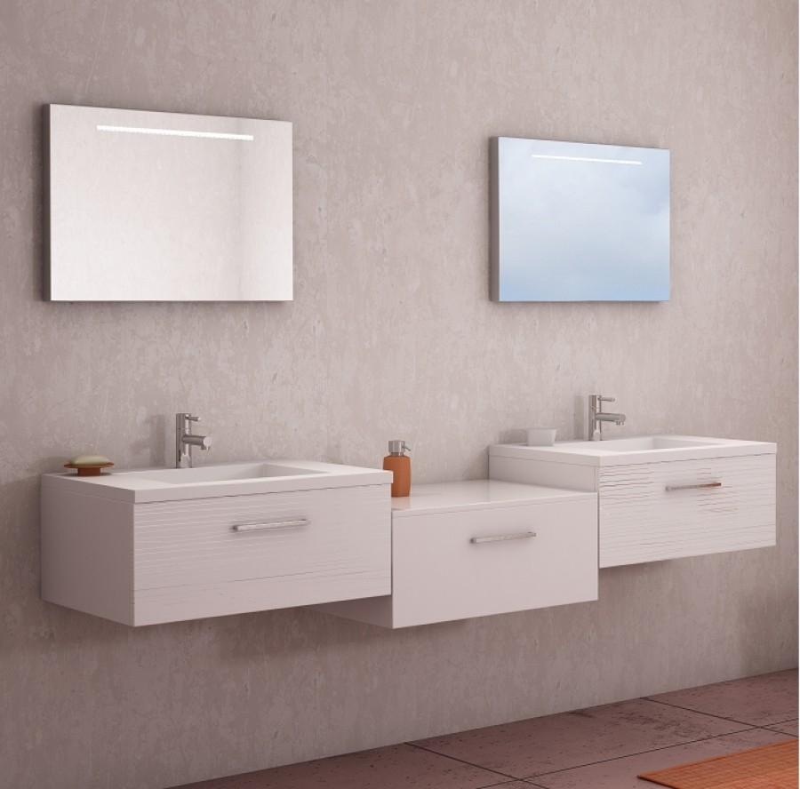 Meuble double vasque vogue 70 serigloss blanc - Meuble double vasque blanc ...
