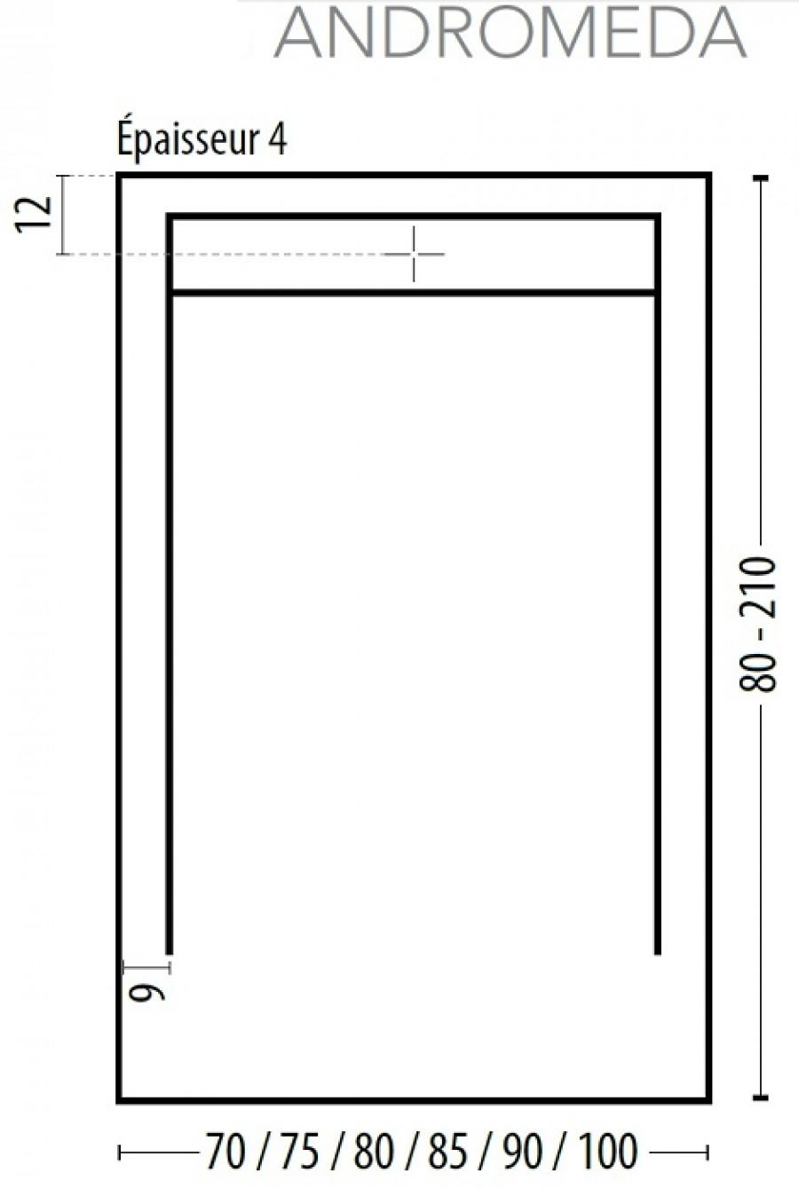receveur de douche coulement lin aire androm de blanc 100x90. Black Bedroom Furniture Sets. Home Design Ideas