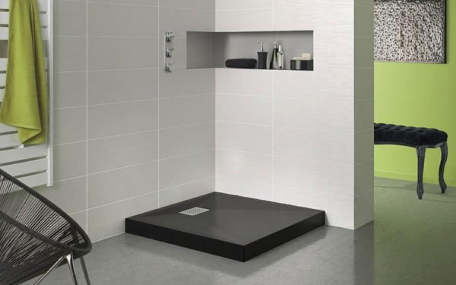 receveur de douche carr 90x90 kinecompact noir. Black Bedroom Furniture Sets. Home Design Ideas