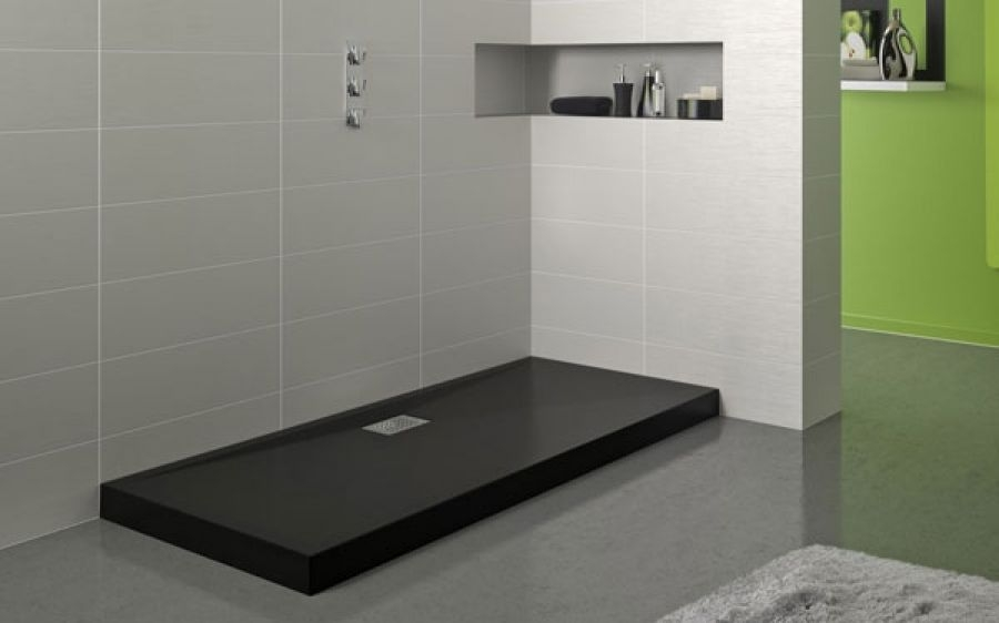 receveur de douche rectangle 70x90 en biocryl kinecompact noir. Black Bedroom Furniture Sets. Home Design Ideas