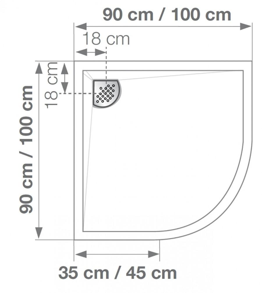 receveur de douche 1 4 rond 90x90 kinecompact. Black Bedroom Furniture Sets. Home Design Ideas
