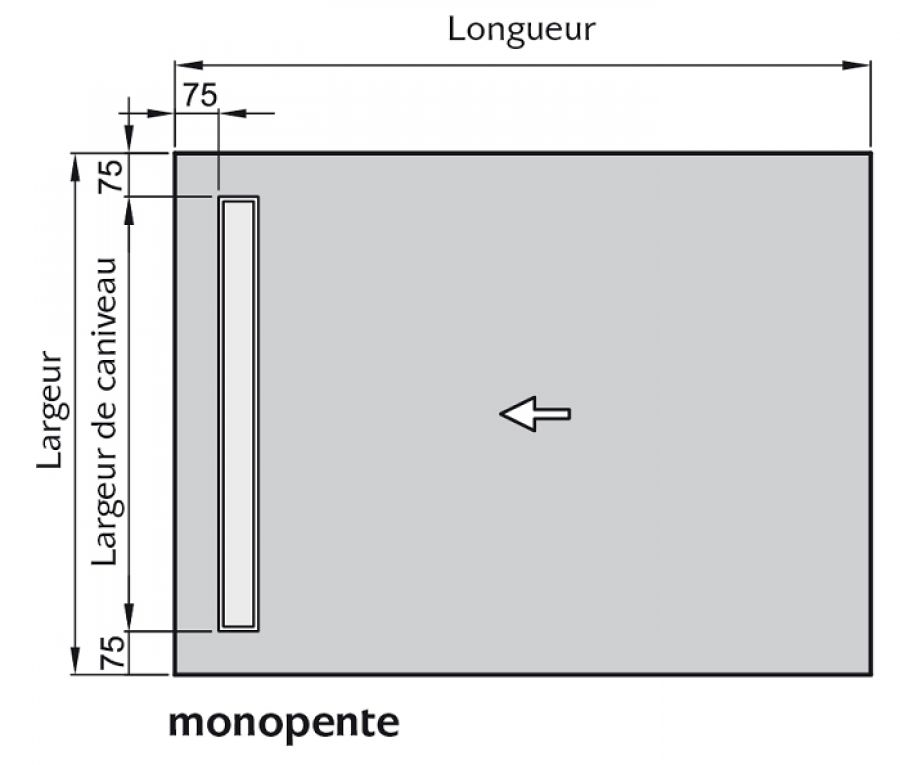 receveur à carreler écoulement linéaire 140×130 verticale