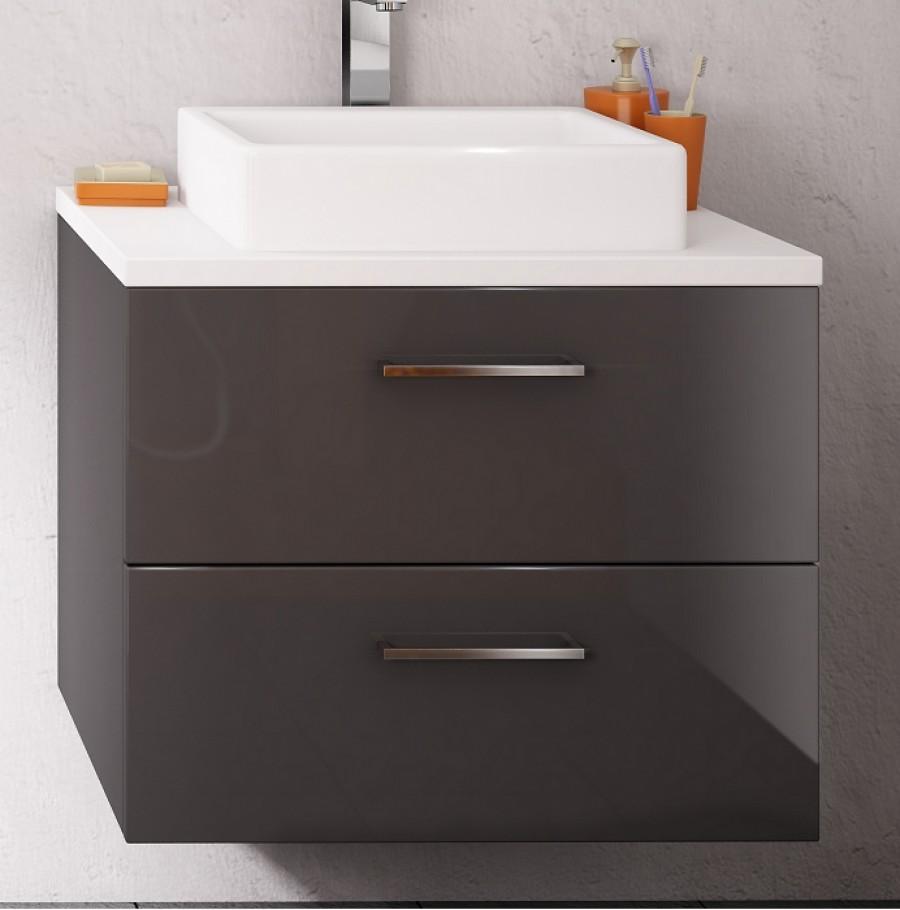 meuble simple vasque loft 70 cm opale anthracite - Meuble Vasque 70 Cm