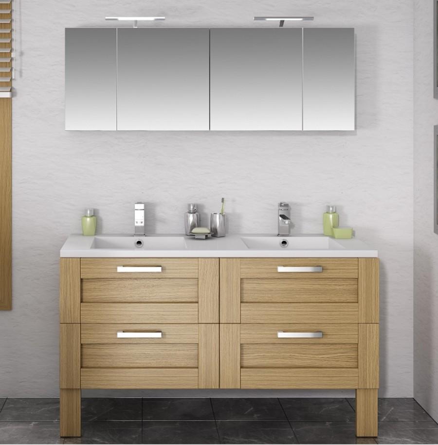 Meuble salle de bain double vasque sur pied meuble salle - Meuble de salle de bain double vasque avec pied ...