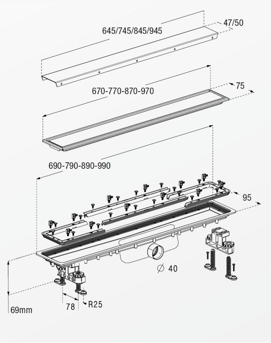 pin caniveau de douche carreler en acier en inoxydable. Black Bedroom Furniture Sets. Home Design Ideas