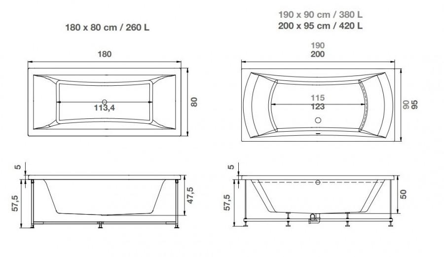 Baignoire baln o pl nitude double t te rectangulaire for Baignoire profondeur 60 cm
