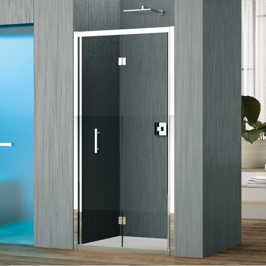 Porte pliante zephyros s 70cm verre transparent profil - Porte de douche pliante 70 cm ...