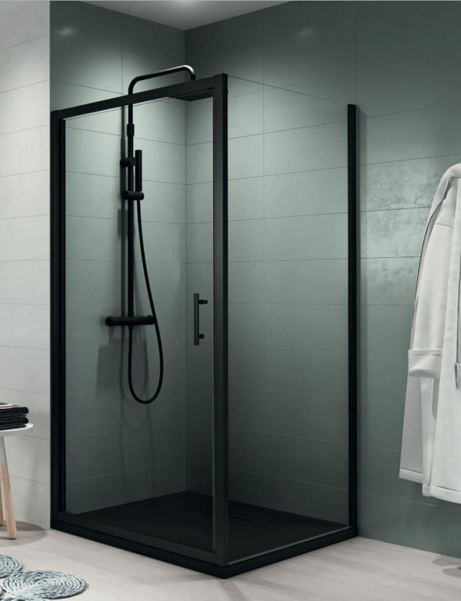 porte pivotante zephyros g 70cm verre transparent profil s meuble de salle. Black Bedroom Furniture Sets. Home Design Ideas