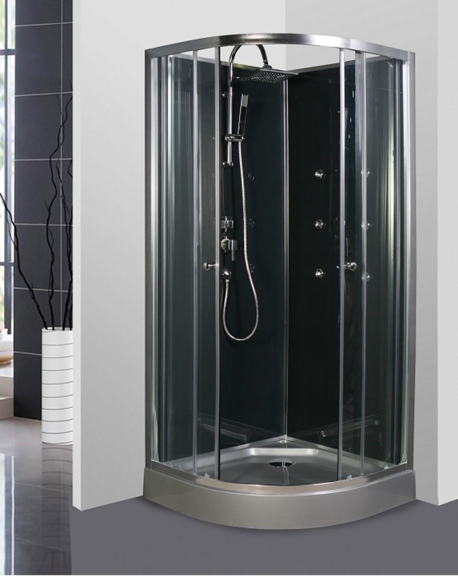 Cabine de douche 1 4 rond 90cm meuble for Cabine bain douche angle