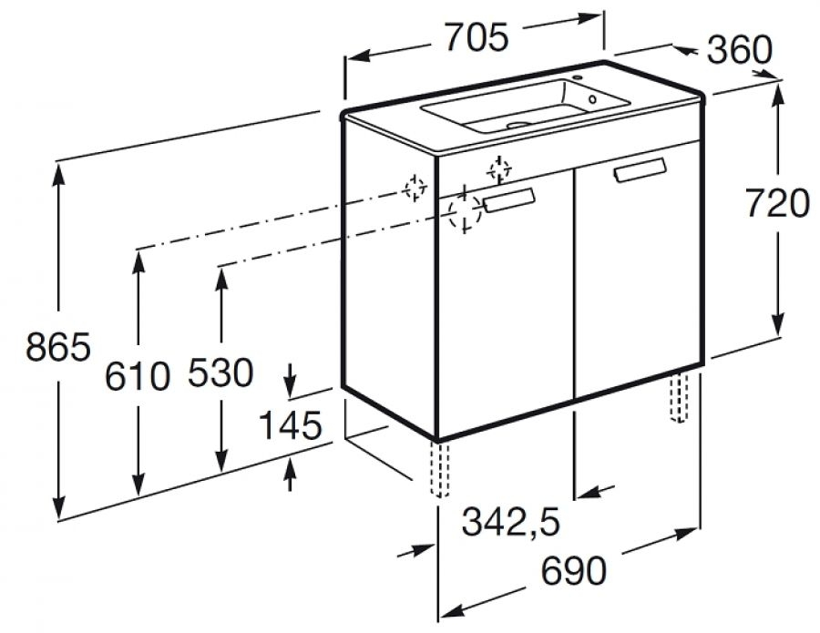 Meuble simple vasque Debba pact 70cm Wengé 2 portesSanitaire